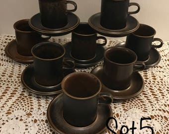 Arabia Ruska coffee cups with saucers/set of eight