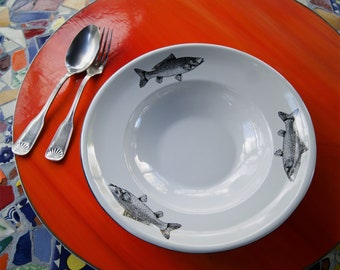 "Enamel Soup Bowl Mexican Fish Original Art Work Contemporary Design ""Sip of the Sea"""