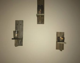 Upcycled Pallet Wood Wall Sconces - Set of 3