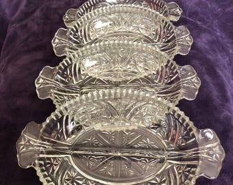 """CRYSTAL Divided Service Plates. SET of Four (4) 10"""" wide"""