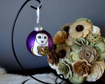 Barn Owl Ornament, Hand Painted Bird Ornament