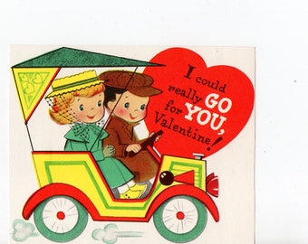Vintage Children In Buggy Valentine | Greeting Card | Valentine's Day, Valentines, Children, Automobiles, Love, Romance | Paper Ephemera