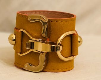 Yellow leather cuff