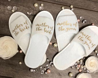 Personalized Bridesmaid Slippers-Bridesmaid Gifts-Bridal Party Slippers-Gift for Bride-Mother of the Bride and Groom Gift-Wedding Slippers-