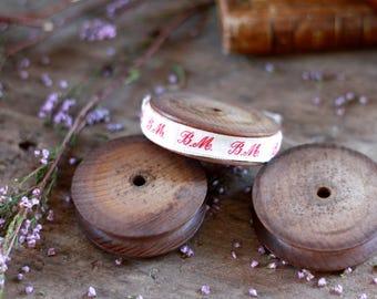 LAST SET French set 3 bobbins for ribbon. Antique bobbins of haberdashery 19th. Haberdashery accessory. Storage ribbon. French haberdashery