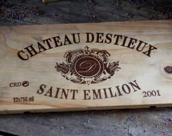 French wine crate front SAINT-EMILION CHATEAU. Wine Bordeaux. Vins de Bordeaux. French wine panel. French wine dedor. Wine panel. Wine decor