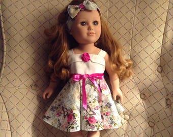 "18"" Doll Dress Cream bodice/Pink print fabric,summer sundress,full skirt,cotton blend, Handmade in usa,shoulder straps,smoke free,satin belt"