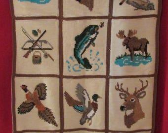 Handmade crochet cross stitch afghan throw blanket