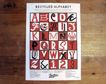 Hand Screen Printed Poster - Recycled Alphabet