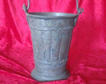 Antique Ottoman Style Vintage Hand Made Brass Water Bucket #893