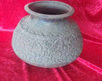 Hand Made Engraved Antique Ottoman Style Brass Pot / Lota #1237