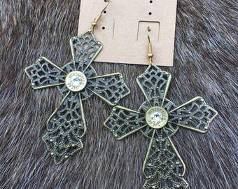 Bullet Cross Gypsy Earrings