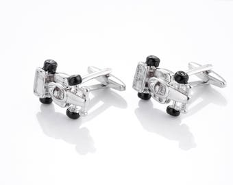 Cufflinks race car, racing trolley-silver coloured