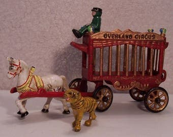 Vintage Overland Circus Wagon with Tiger, Driver and Horse