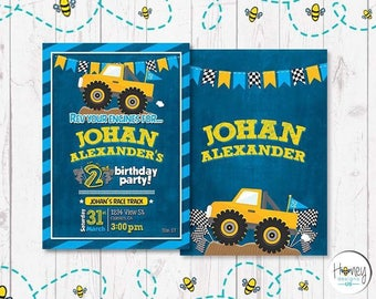 Monster Truck, invite, boy, birthday, race, off road, ready set go, party, digital invite.