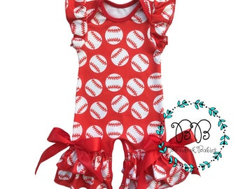 Baseball Flutter Sleeve Romper for Infant Baby Girl includes FREE Monogram/Name or Team Name and Hair Bow