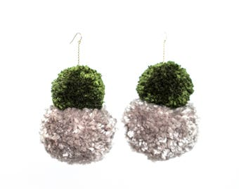 Double Stack Pom Poms, Earth Tone Pom Pom Earrings, Fluffy Earrings