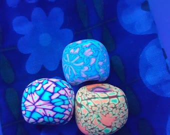 Black light fluorescent Dreadperlen in a set of 3 for thick dreads/UV active Blacklight dreadbeads trippy psy Extra Large