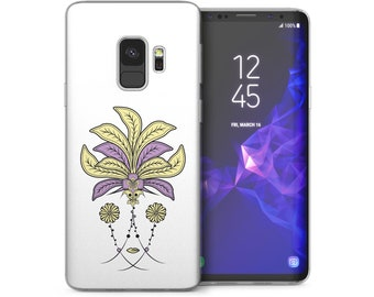 Samsung Galaxy S9 Case, Pink Flowers Native Headdress Ethnic Print Gel Cover