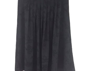 Vintage St Michael Black Skirt Size 16 A Line Swing Paisley Shimmer Pleated