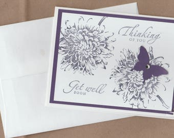Handmade Blank Card Thinking of You Get Well Soon