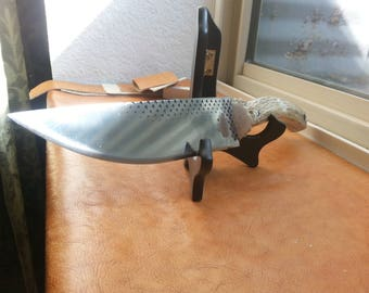 LARGE full tang rasp knife with natural antler handle.
