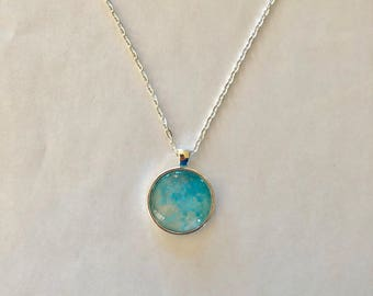 Blue with Silver Flecks Orb Necklace
