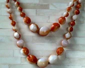 Necklace / Double Strand Polished, Irregularly Cut Beads / Vintage