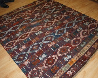 Old Turkish Malatya Kilim, Woven in Two Parts, Square Size, Traditional Design. Circa 1920.