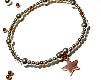 Sterling Silver Star Bracelet, Rose Gold Bracelet, Star Bracelet, Stacking Stretch Bracelet, Charm Bracelet, Birthday Gift,  FREE DELIVERY