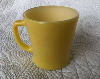 Vintage Canary Yellow Fire-King mug. Good condition, minimal condition/wear.