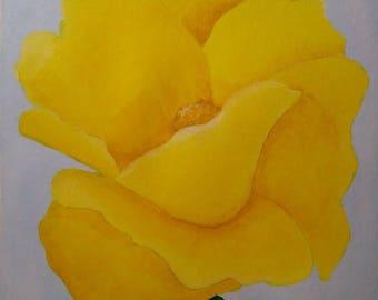 Original Yellow Poppy Acrylic Painting