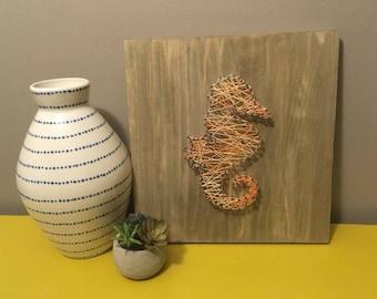 Peach Seahorse String Art