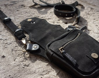 Black Leather Bike Bag, Money Belt, Hip Holster, Mens Free Bag, Belt Bag, Utility Belt, Travel Bag, Waist Belt, Bum Bag, Money Belt, Unisex