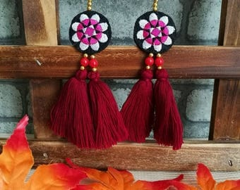 Handcraft Embroidered Flower Tribal Ethnic Earrings Statement Dangle Drop Boho Chic Beaded Tassel Red Earrings Gift