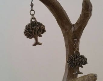 Bronze tree earrings