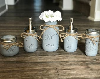 Custom Mason Jar Bathroom Set