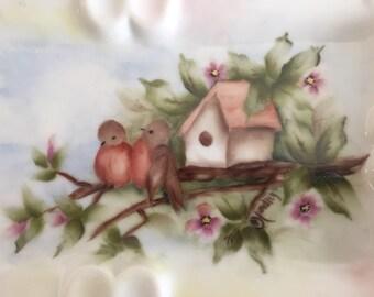 "8"" Painted Bird dish Porcelain China Paint Handpainted"
