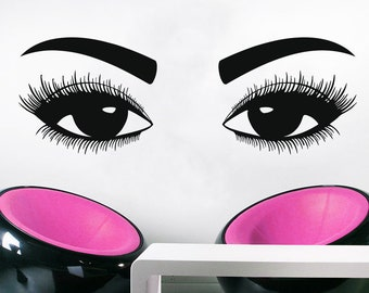 Wall Decal Window Sticker Beauty Salon Woman Face Eyelashes Lashes Eyebrows Brows t72
