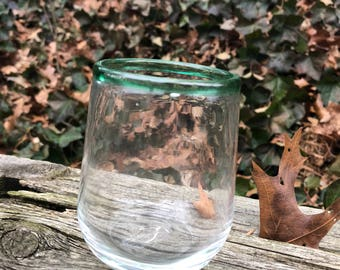 Stemless wine glass or rocks glass - clear with green lip wrap