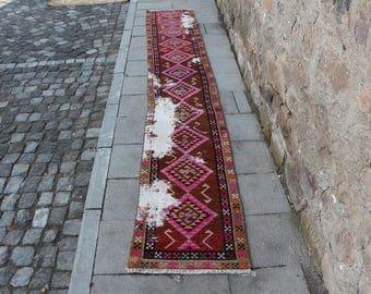 Original curved turkish runner area rug, very rare bohemian rug, Free Shipping 1.7 x 11.5 ft. hallway design rug, nomadic runner rug, MB265