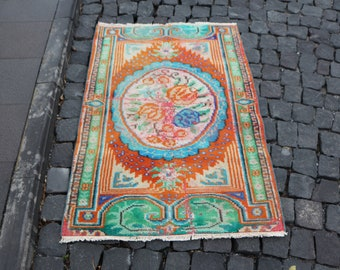 Free Shipping pastel color oushak rug decorative area rug 2.7 x 3.9 ft. small size floor rug very rare handknotted rug frontdoor rug MB393
