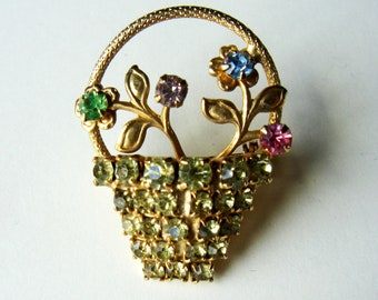 Vintage Rhinestone Pin/Brooch / Flower Basket Pin