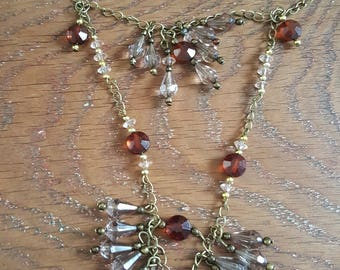 Necklace bronze color metal, acrylic beads and glass