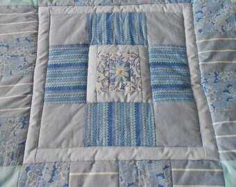 Bespoke personalised patchwork memory keepsake quilt, snuggle blanket or playmat 100 x 100 cm