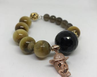 Tiger's Eye, Black Onyx, Smoky Quartz bracelet