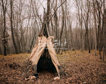Teepee tent background, Forest digital background, Tipi background, halloween backdrop, witch background, hut, dark forest backdrop, autumn