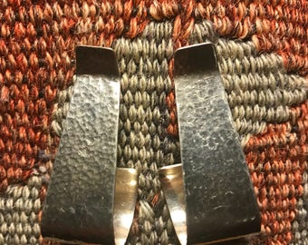 Vintage Sterling Silver Clip-on Earrings Hammered Texture 1980's