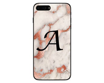 Personalised Rose Gold Marble Large Single Initial Phone Case for Apple iPhone and Samsung Galaxy 5 6 6s 7 8 10