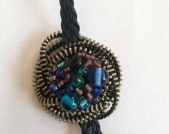 Zipper necklace  - Glass Beads Jewelry - Valentines Gift